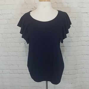 Navy ruffled sleeve top